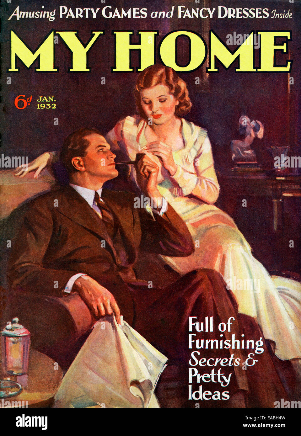 My Home, Pipe Smoking, 1932 cover of the English home and lifestyle magazine for the new suburban middle class, - Stock Image
