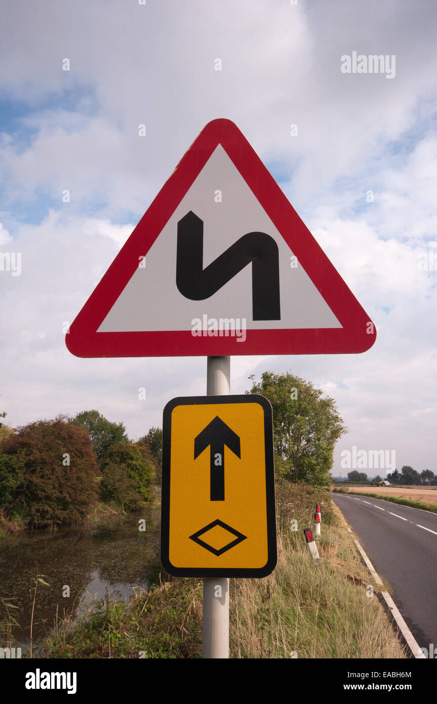Uk Road Sign Series Of Bends - Stock Image