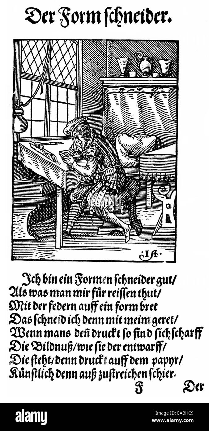 1568, description of the trades, front page by Hans Sachs, 1494 - 1576, a Nuremberg poet, playwright and Meistersinger, - Stock Image