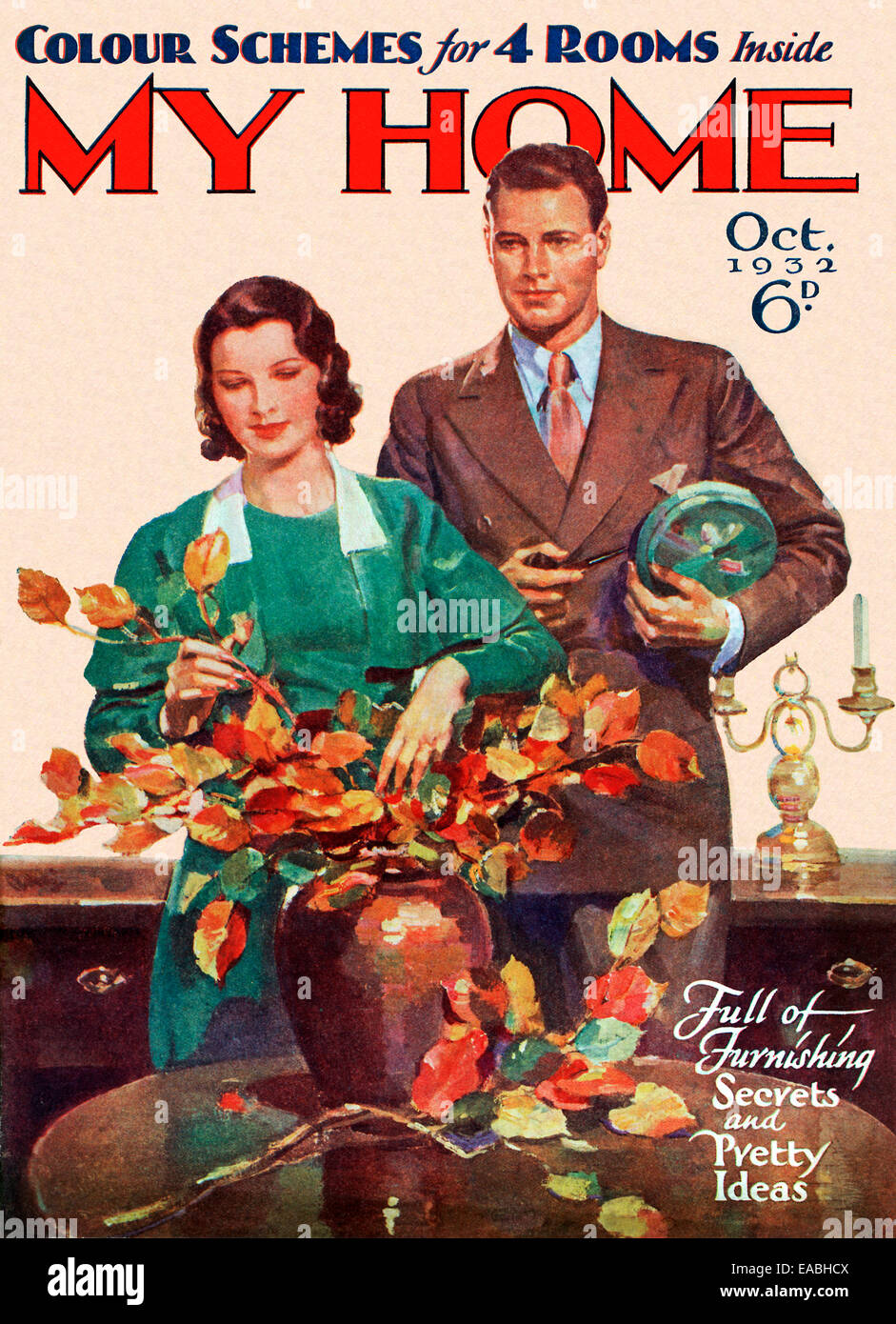 My Home, Leaves, 1932 Cover Of The English Home And Lifestyle Magazine For  The New Suburban Middle Class, Arranging Autumn Colours To Brighten Up The  House