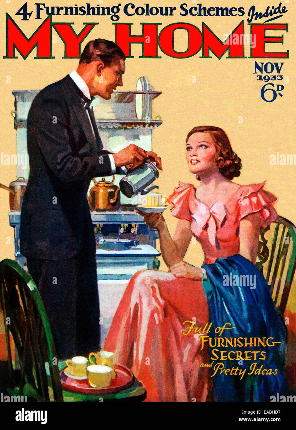 My Home, Coffee, 1933 cover of the English home and lifestyle magazine for the new suburban middle class, in the - Stock Image