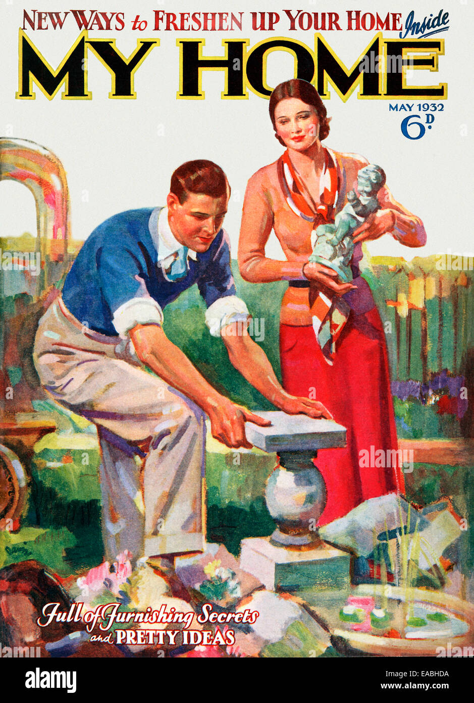 My Home, Statue, 1932 cover of the English home and lifestyle magazine for the new suburban middle class, a couple - Stock Image