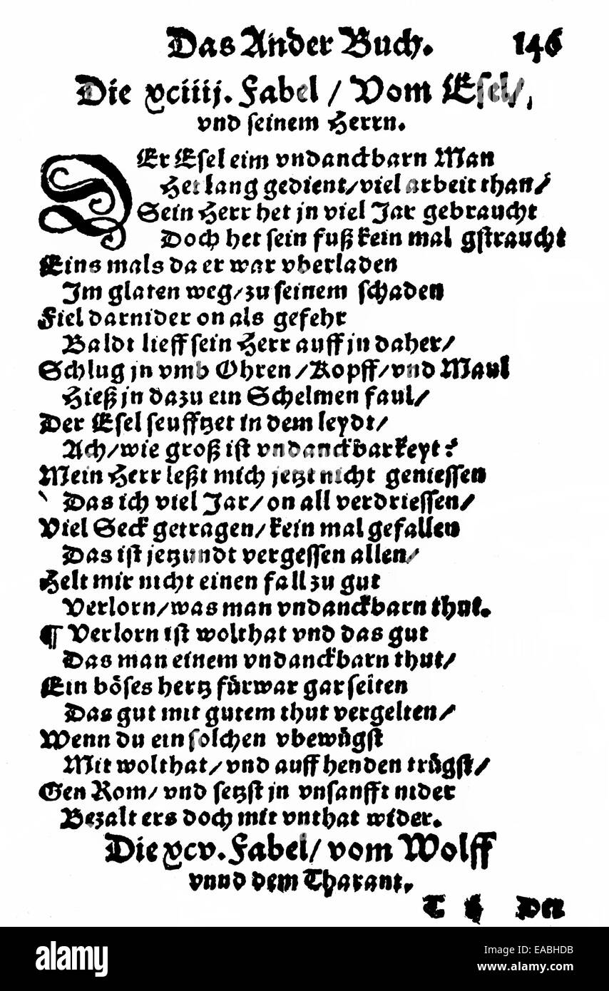 1548, front page of the Esopus book of fables by Burkard Waldis, or Burcard Waldis, 1490 - 1556, German fabulist, - Stock Image