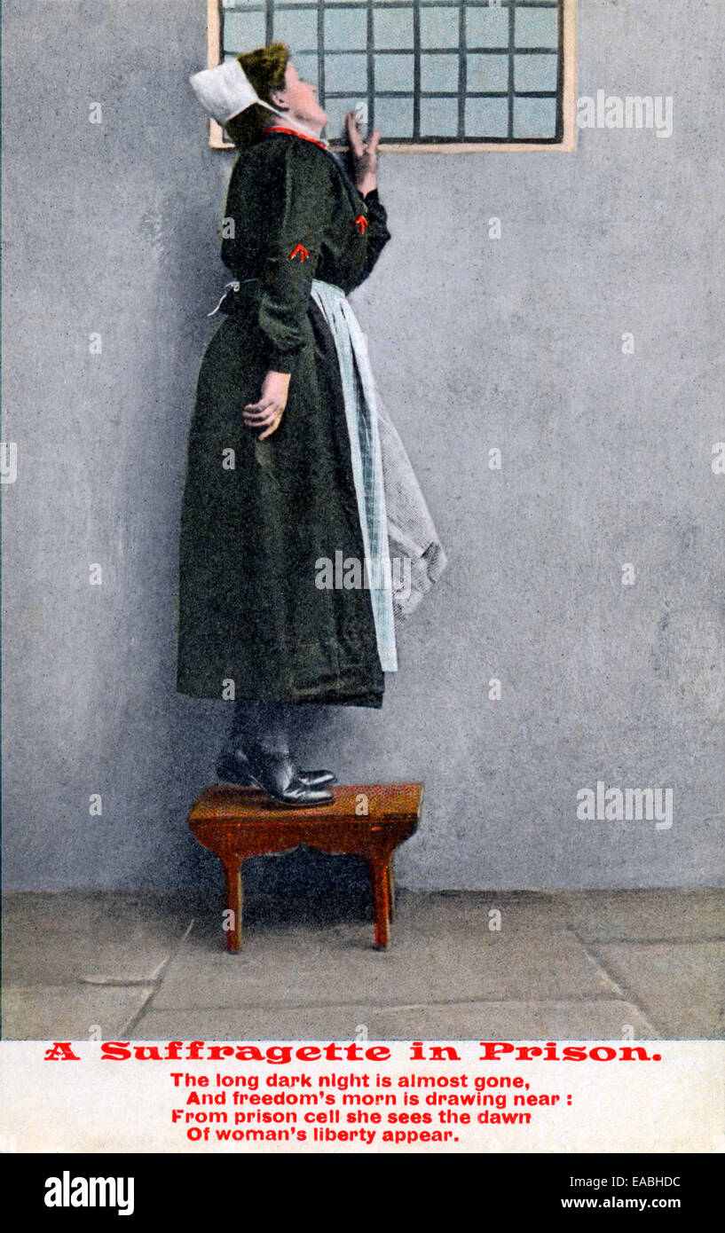 A Suffragette in Prison, Edwardian postcard of an imprisoned champion of womens suffrage near the end of her sentence - Stock Image