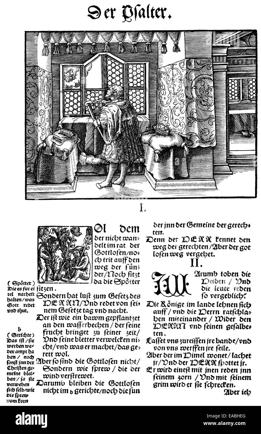 Historic print, woodcut of 1534, a page of the first translation of the Bible by Martin Luther, 1483 - 1546,  Holzschnitt - Stock Image