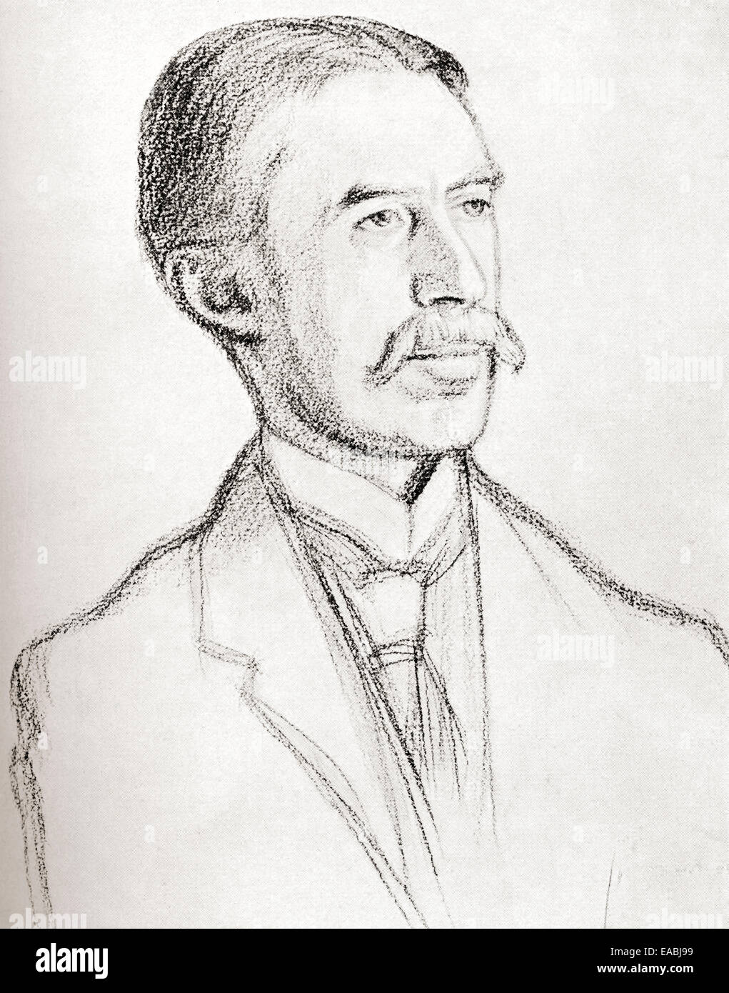 A.E. Houseman, after the drawing by William Rothenstein.  Alfred Edward Housman, 1859 –1936, aka A. E. Housman. - Stock Image