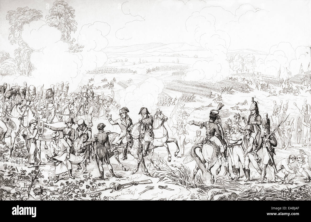 The Battle of Marengo, 14 June 1800, fought between French and Austrian Forces. - Stock Image