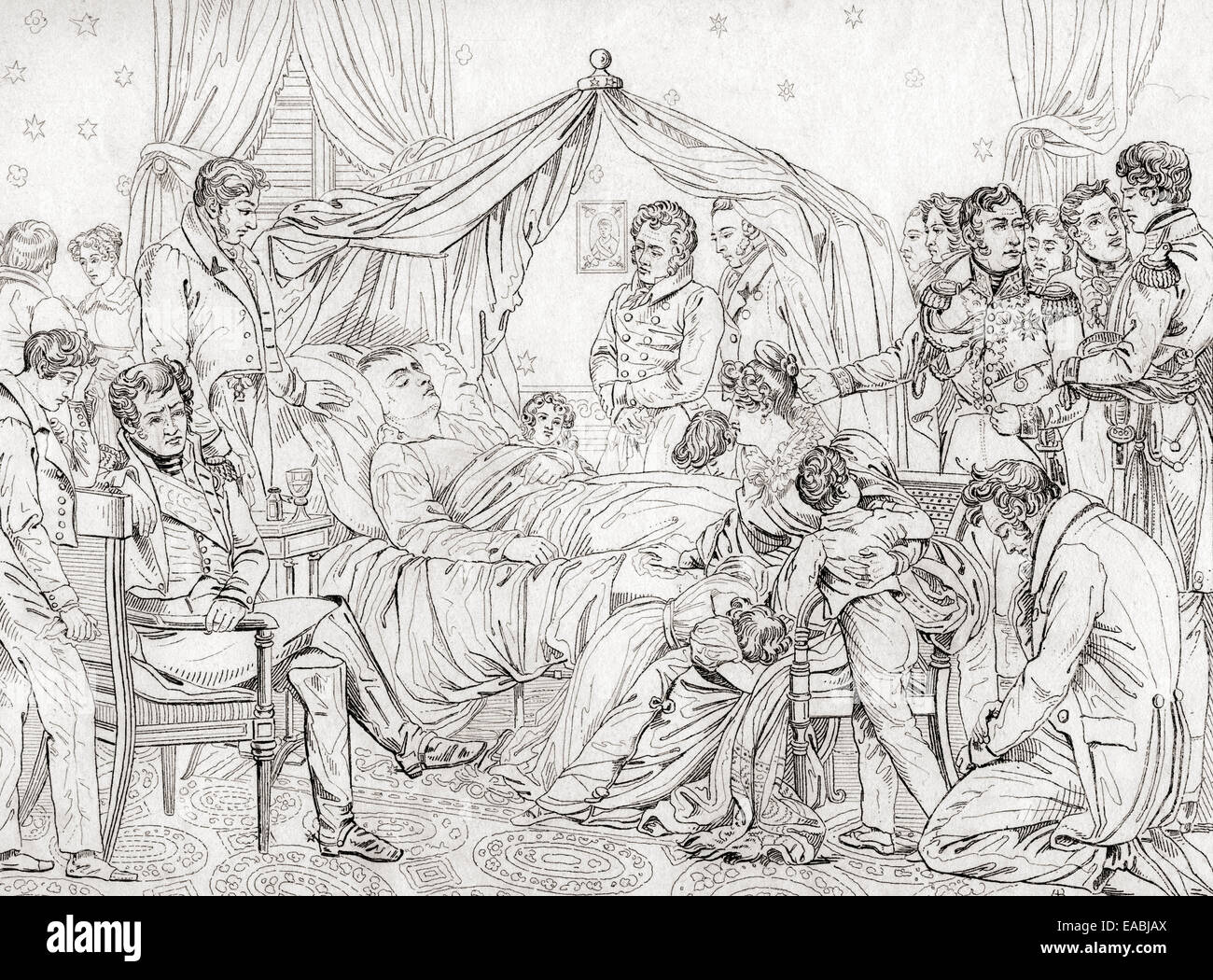The death of Napoleon, May 5, 1821, at Longwood House, St. Helena.  After the painting by Charles Auguste Steuben. Stock Photo