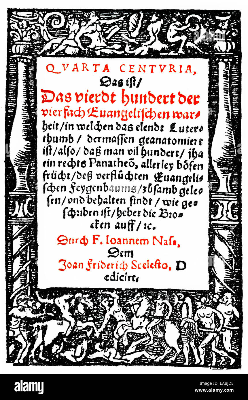 Historic print, 1570, page of a book by Johannes Nas or Nasus, 1534 - 1590, Franciscan and suffragan bishop of Brixen, - Stock Image