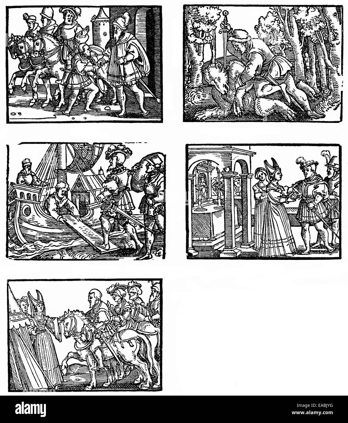 woodcuts from 1480 and 1490 - 1552, by Hans Brosamer, German painter, copperplate engraver and print cutter, printed - Stock Image