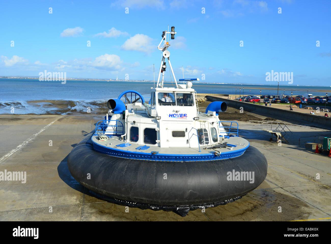 Hover Travel hovercraft, Ryde Harbour, Ryde, Isle of Wight, England, United Kingdom - Stock Image