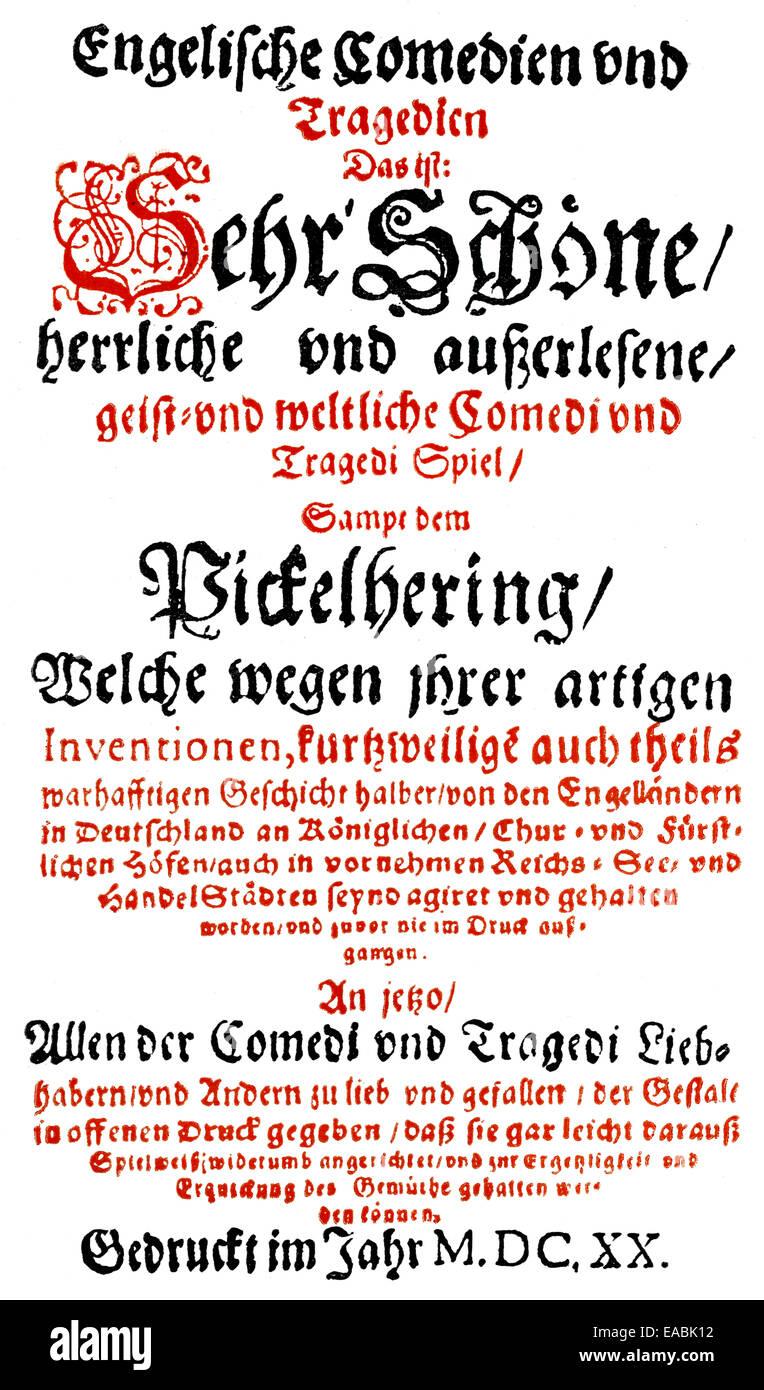 Historic print, 1620, front page of the book Englische Komoedien und Tragoedien, by Heinrich Julius, 1564 - 1613, - Stock Image