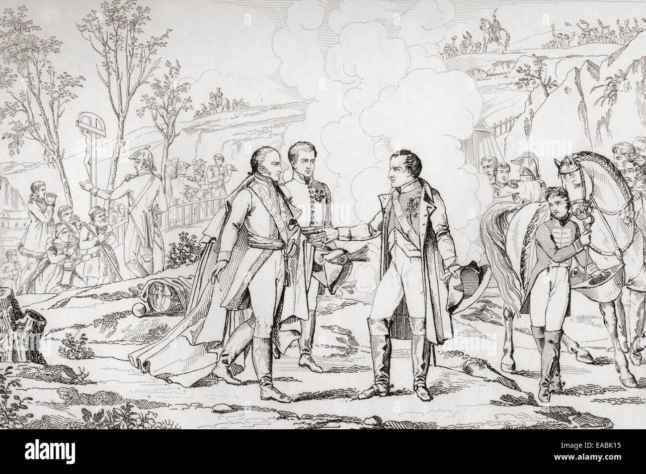 Meeting between Napoleon I and Francis II of Austria, 1805.  Napoleon Bonaparte, 1769 – 1821. Stock Photo