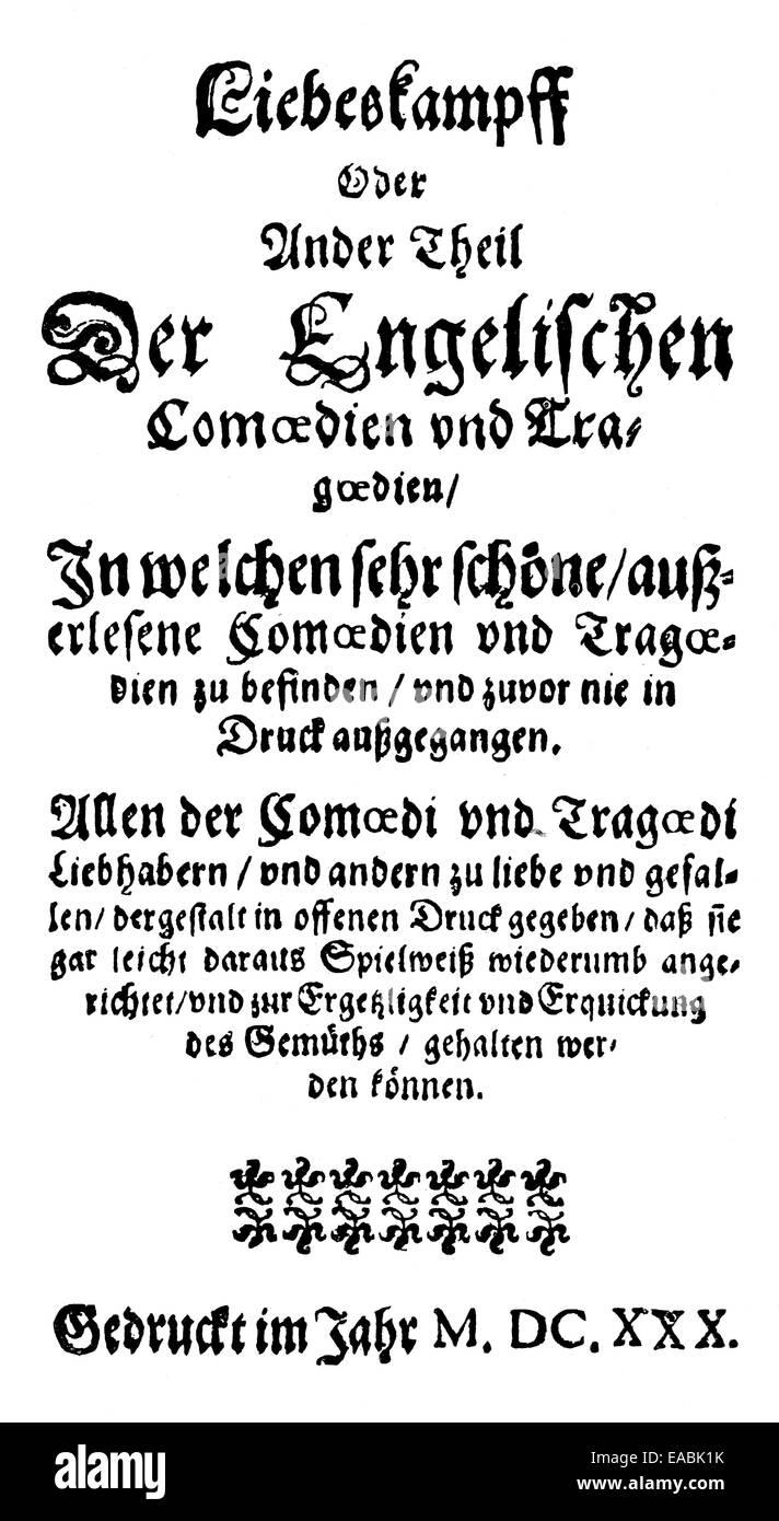 Historic print; 1620; front page of the book Englische Comoedianten by Heinrich Julius; 1564 - 1613; Bishop of Halberstadt; - Stock Image