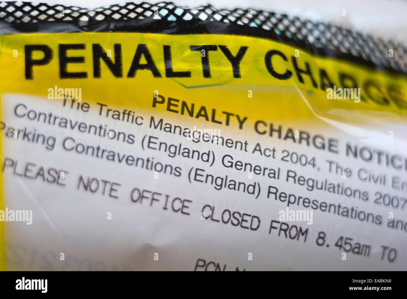 Parking ticket penalty charge Notice - Stock Image