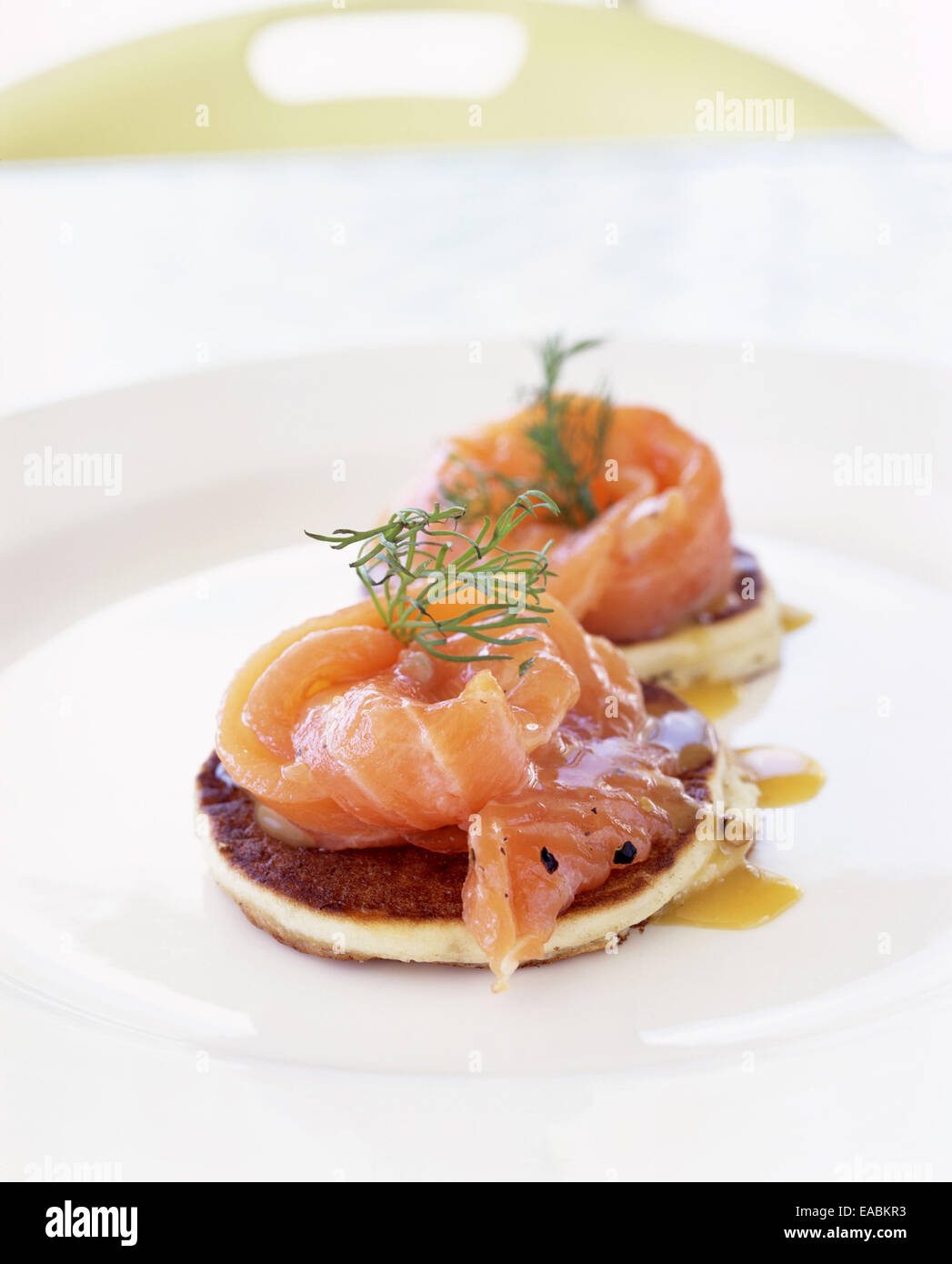 Blini with Gravlax - Stock Image