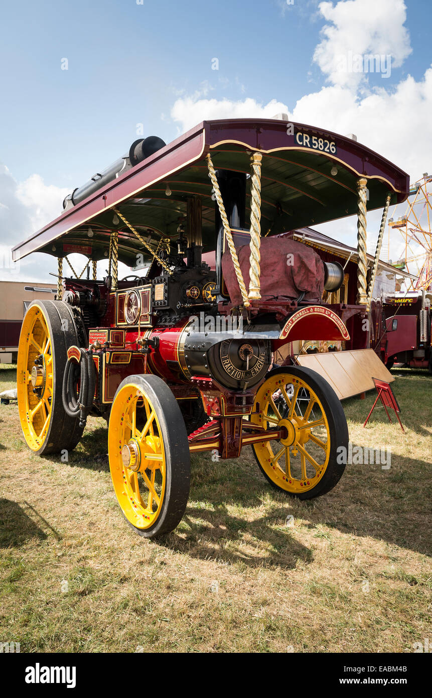 Burrell steam showman's engine at an English show 2014 - Stock Image