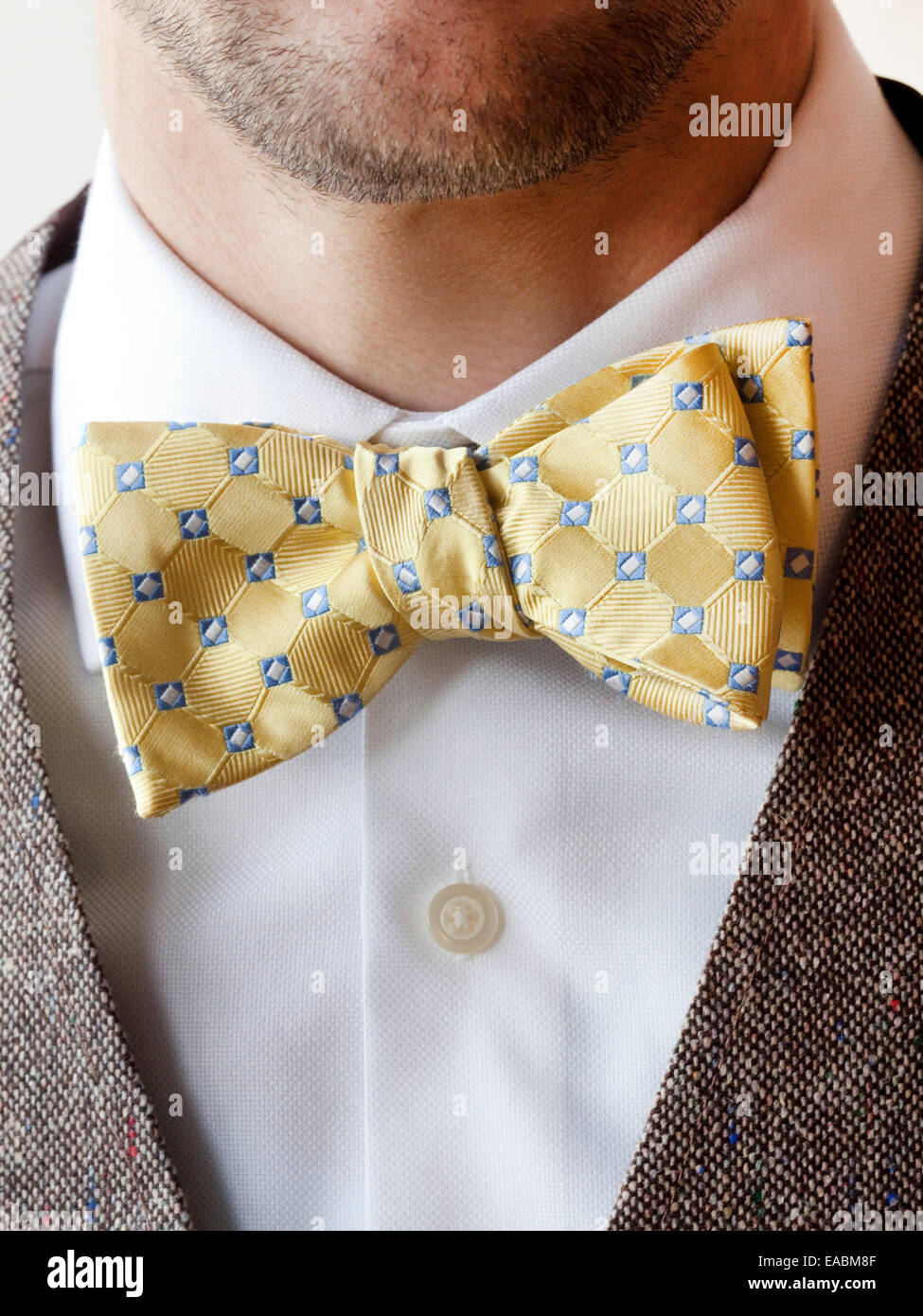 detail of man's yellow bow tie worn with white shirt - Stock Image