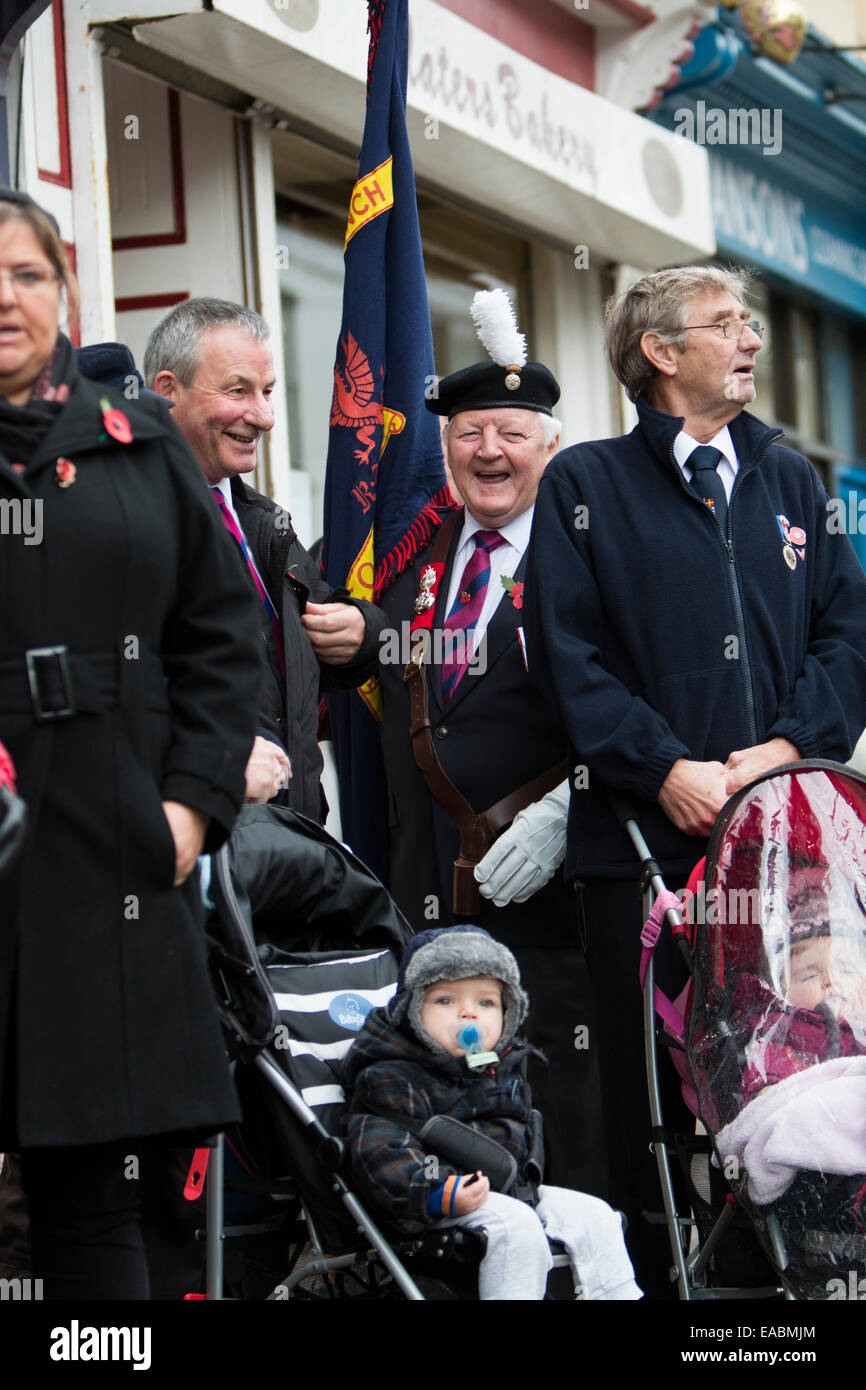 Aberystwyth, UK. 11th November, 2014. Veterans, serving soldiers & members of the public come together in Aberystwyth - Stock Image