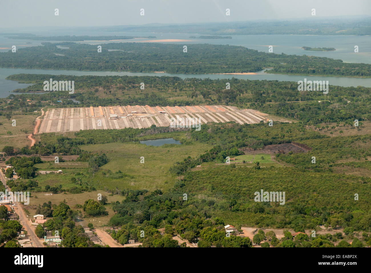 Itaituba, Brazil. Aerial view of social housing development at Piracanã II beside the Tapajos River. - Stock Image