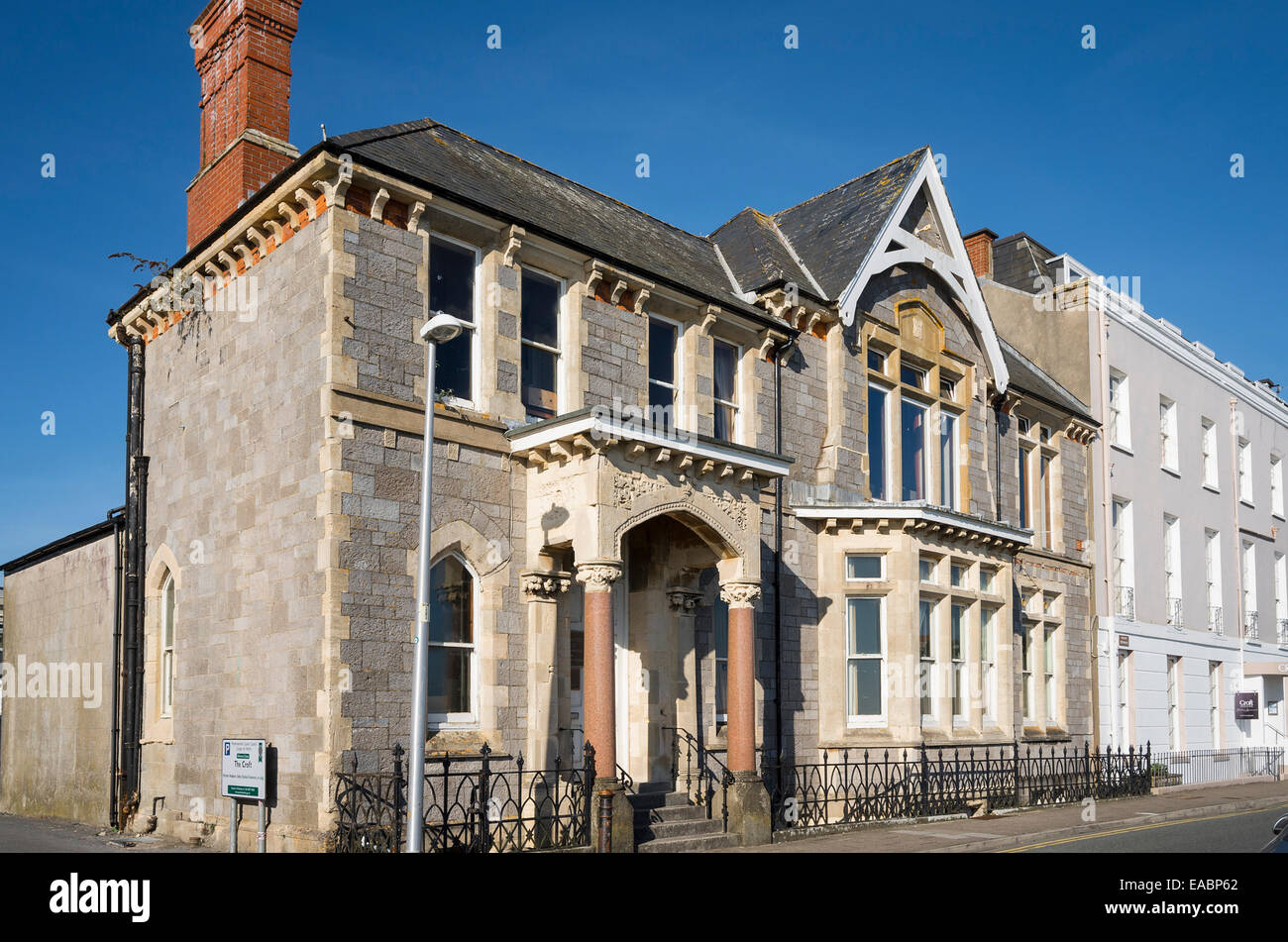 Premises of the Tenby and County Club on the seafront in Tenby UK - Stock Image