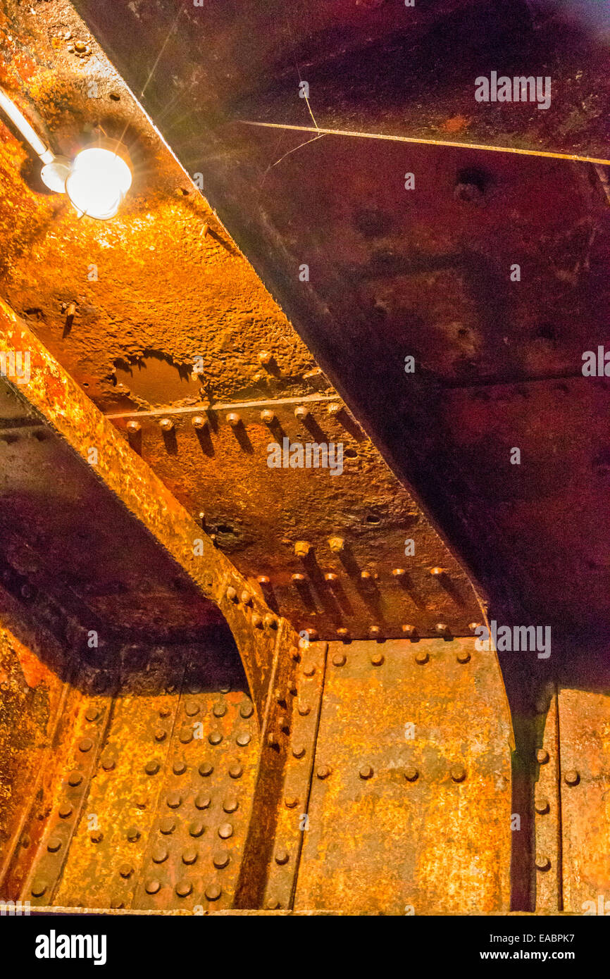 rusty interiors of 100 year old SS Nomadic ship which use to sail with the Titanic - Stock Image