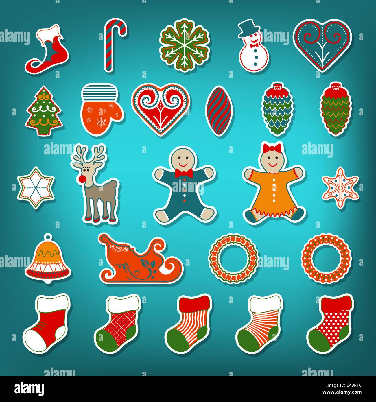 Christmas sticker set - Stock Image