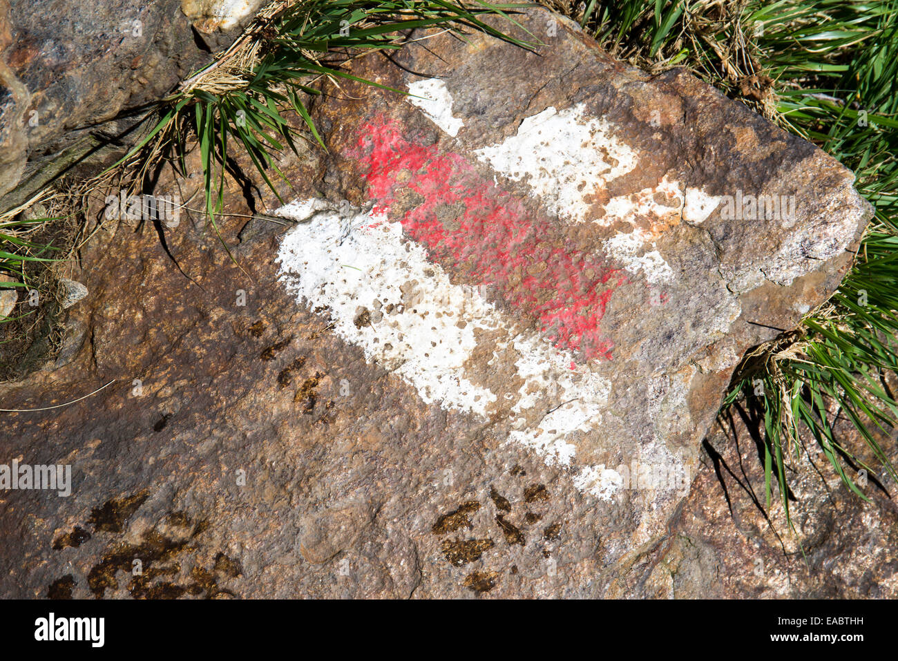 The path sign to Mount Limidario on the Swiss and Italian Alps - Stock Image