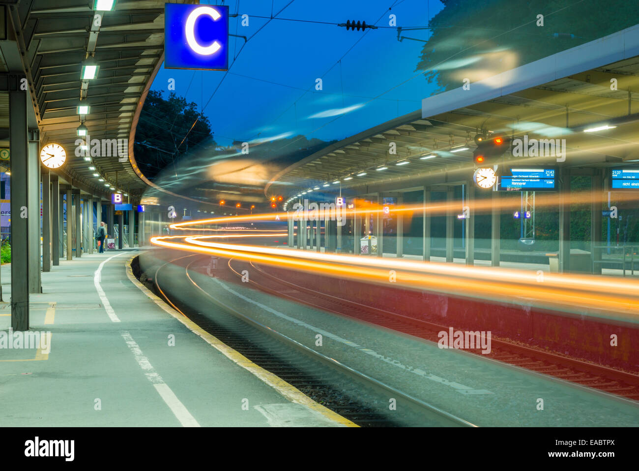 Germany Wuppertal Central Station Light trail of a train - Stock Image
