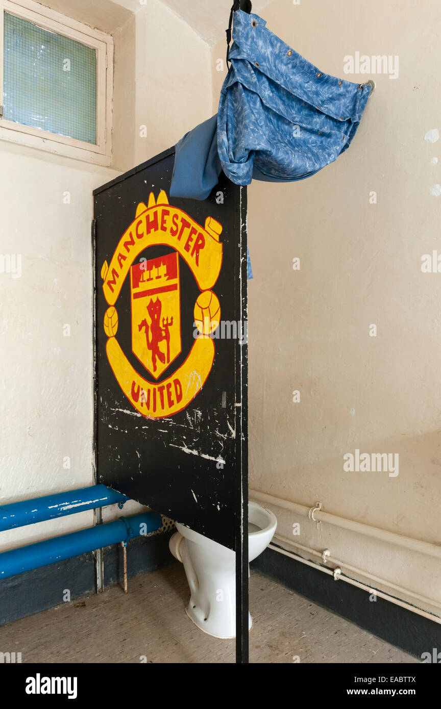 HMP Lancaster Castle, Lancashire, UK. Prison cell in 'A' wing, decorated by a football supporter - Stock Image