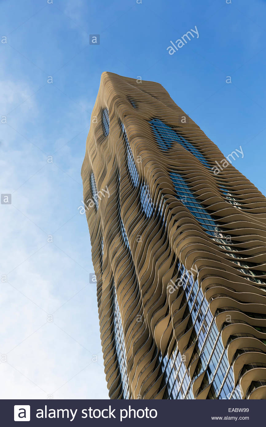 USA, Illinois, Chicago, Radisson Blu Aqua Hotel - Stock Image