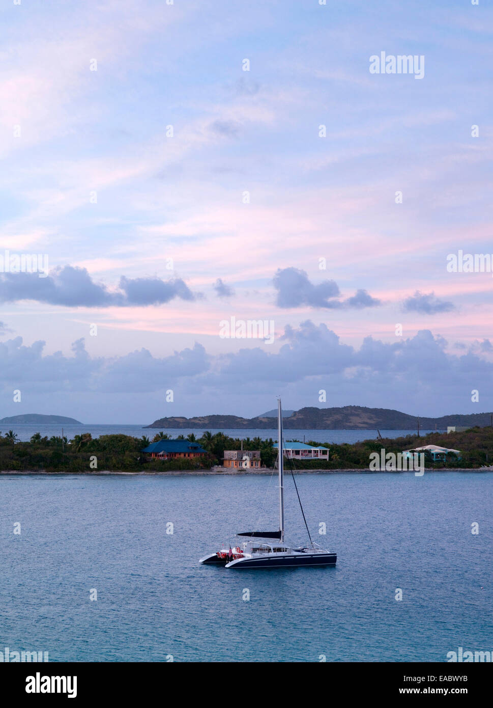Caribbean bay in St. Thomas with catamaran - Stock Image