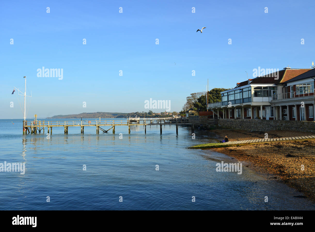 View of foreshore from Yarmouth Pier, Yarmouth, Isle of Wight, England, United Kingdom - Stock Image