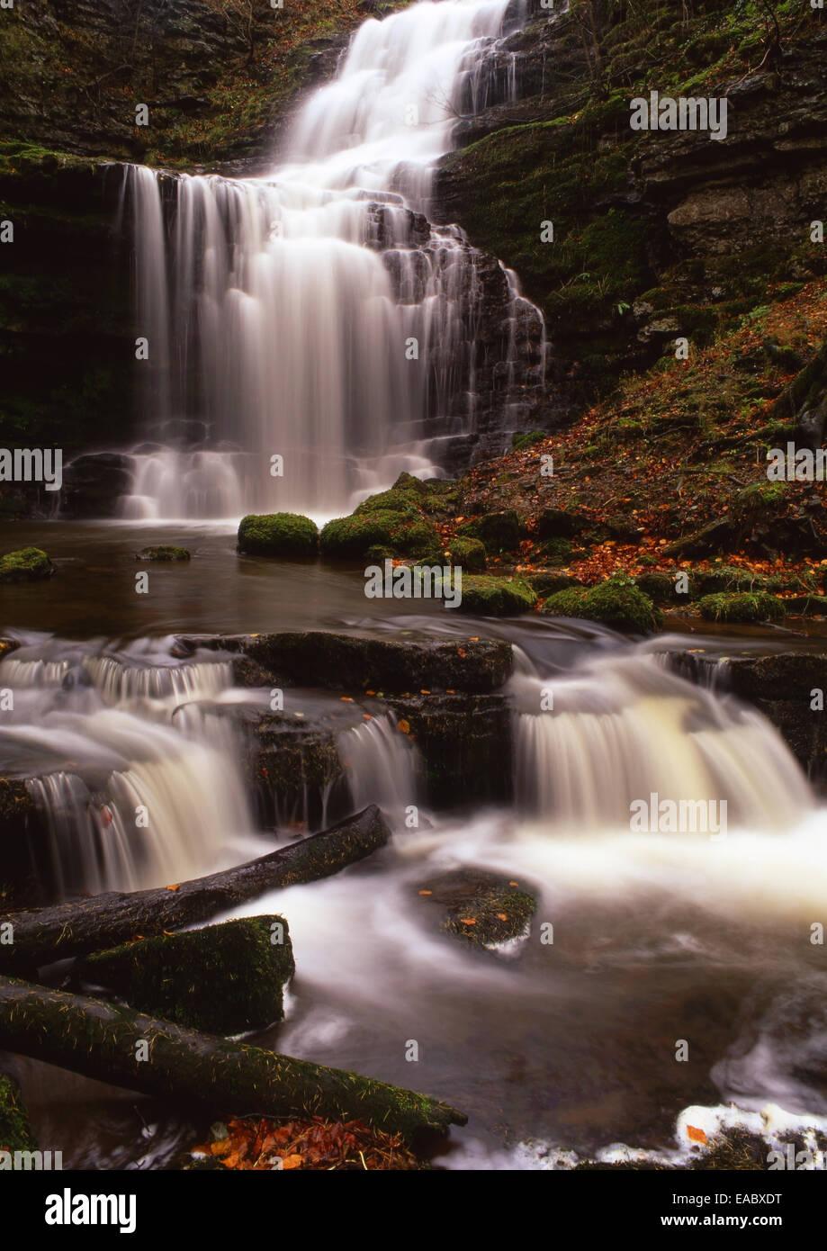 Scalebar Foss waterfall in autumn - Stock Image