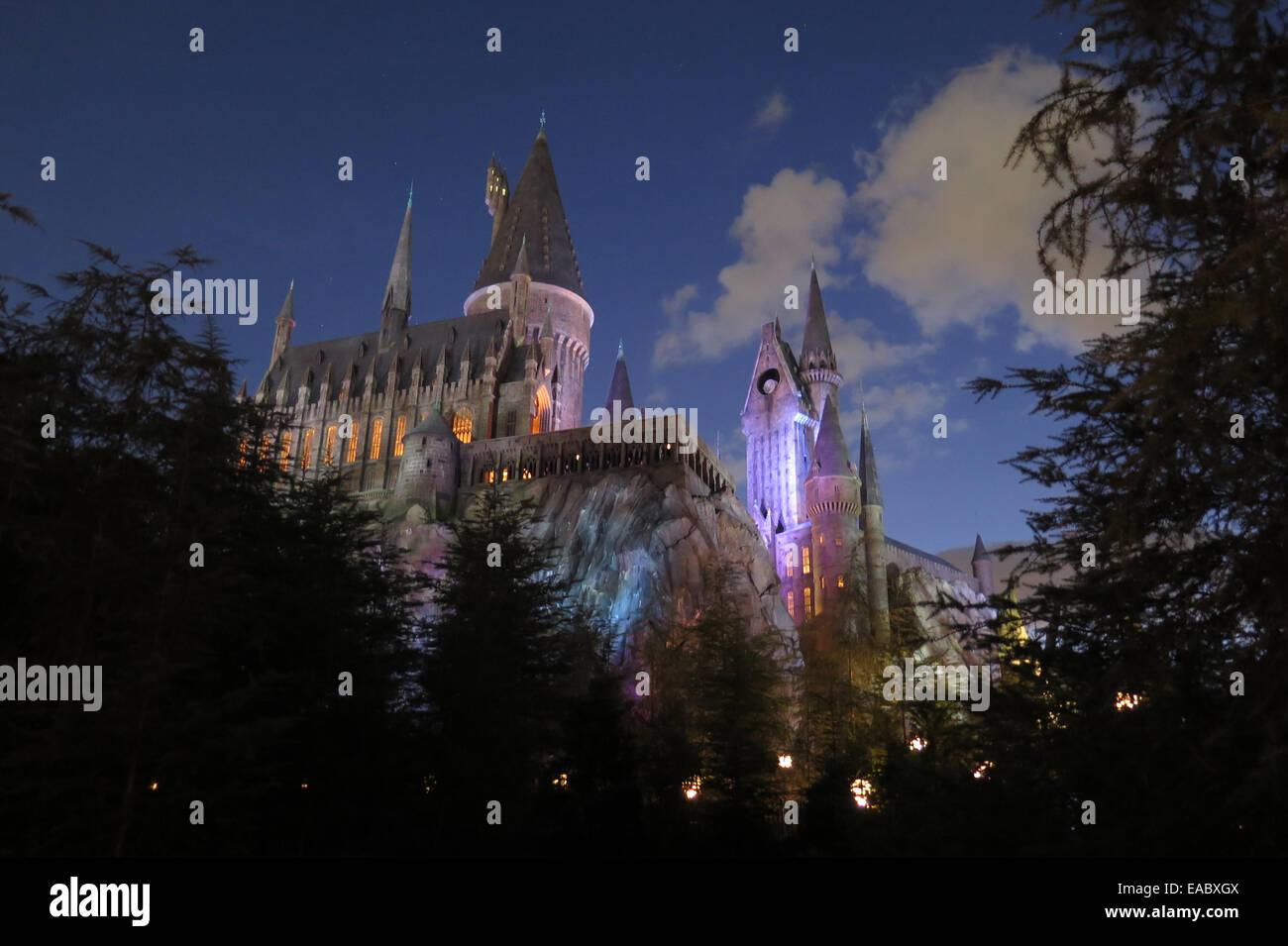Hogwarts Castle Hogsmeade Harry Potter Universal Studios - Stock Image