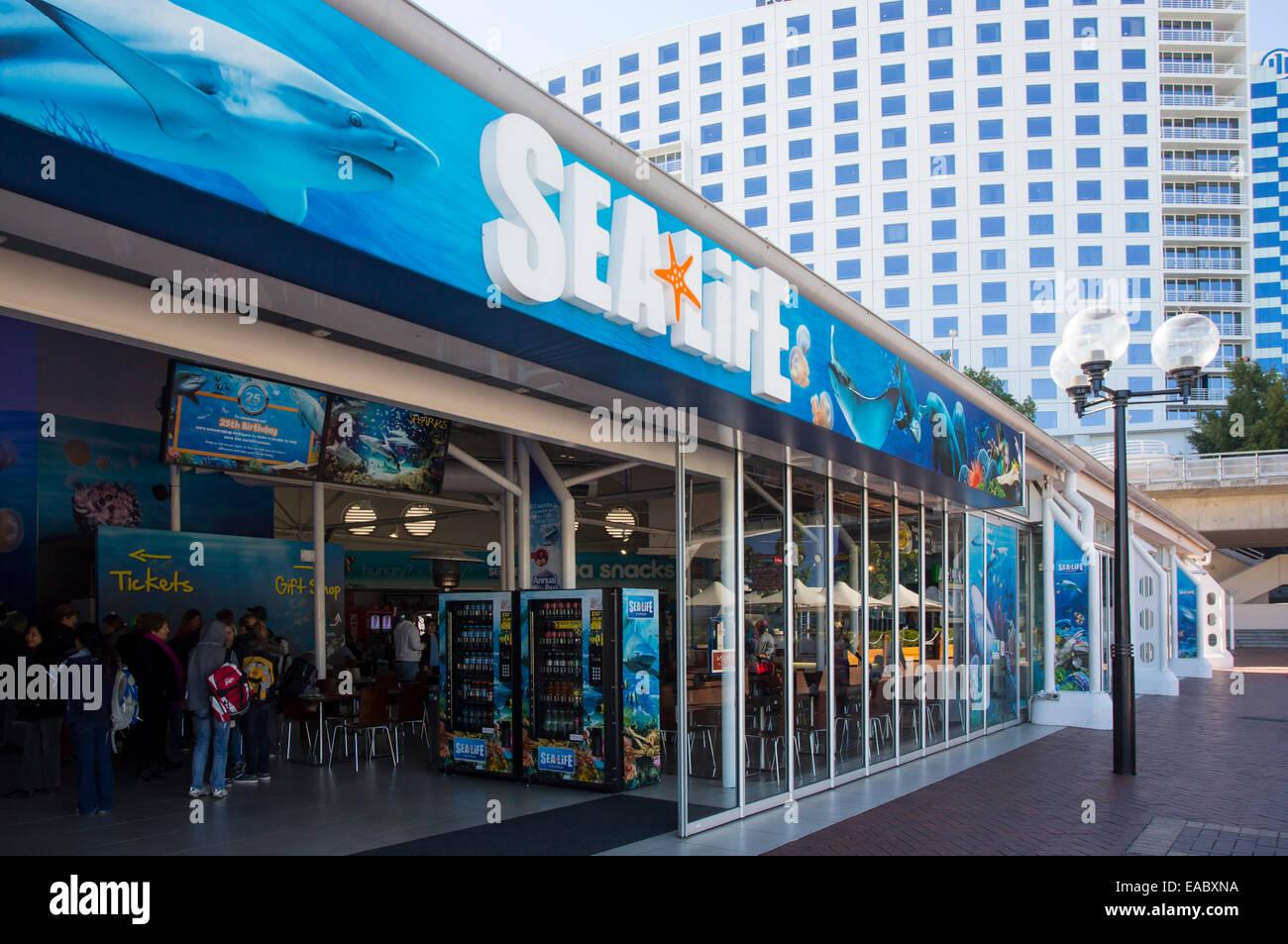 Entrance to Sydney Sea Life Aquarium, Darling Harbour, Sydney, Australia - Stock Image