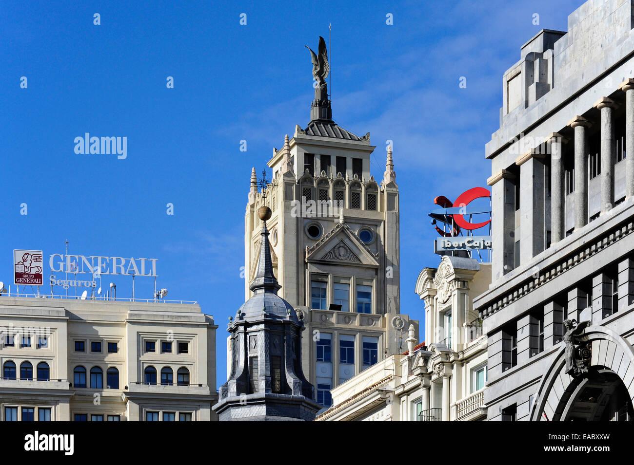 Spain Madrid neoclassical office tower La Union y el Fenix Espanol - Stock Image