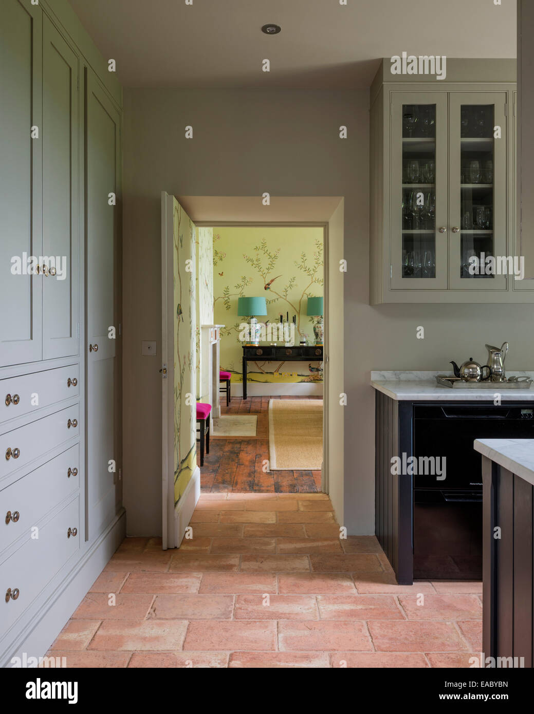 French Country Kitchen Tile Flooring antique french floor tiles in country kitchen stock photo: 75251001