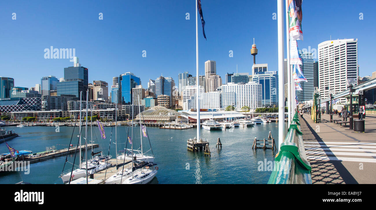 View of Sydney CBD and boats moored in Darling Harbour, Sydney, New South Wales, Australia - Stock Image