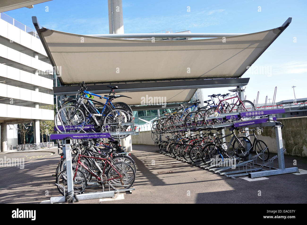Cycle park at Terminal 5, Heathrow Airport. London Borough of Hounslow, Greater London, England, United Kingdom - Stock Image