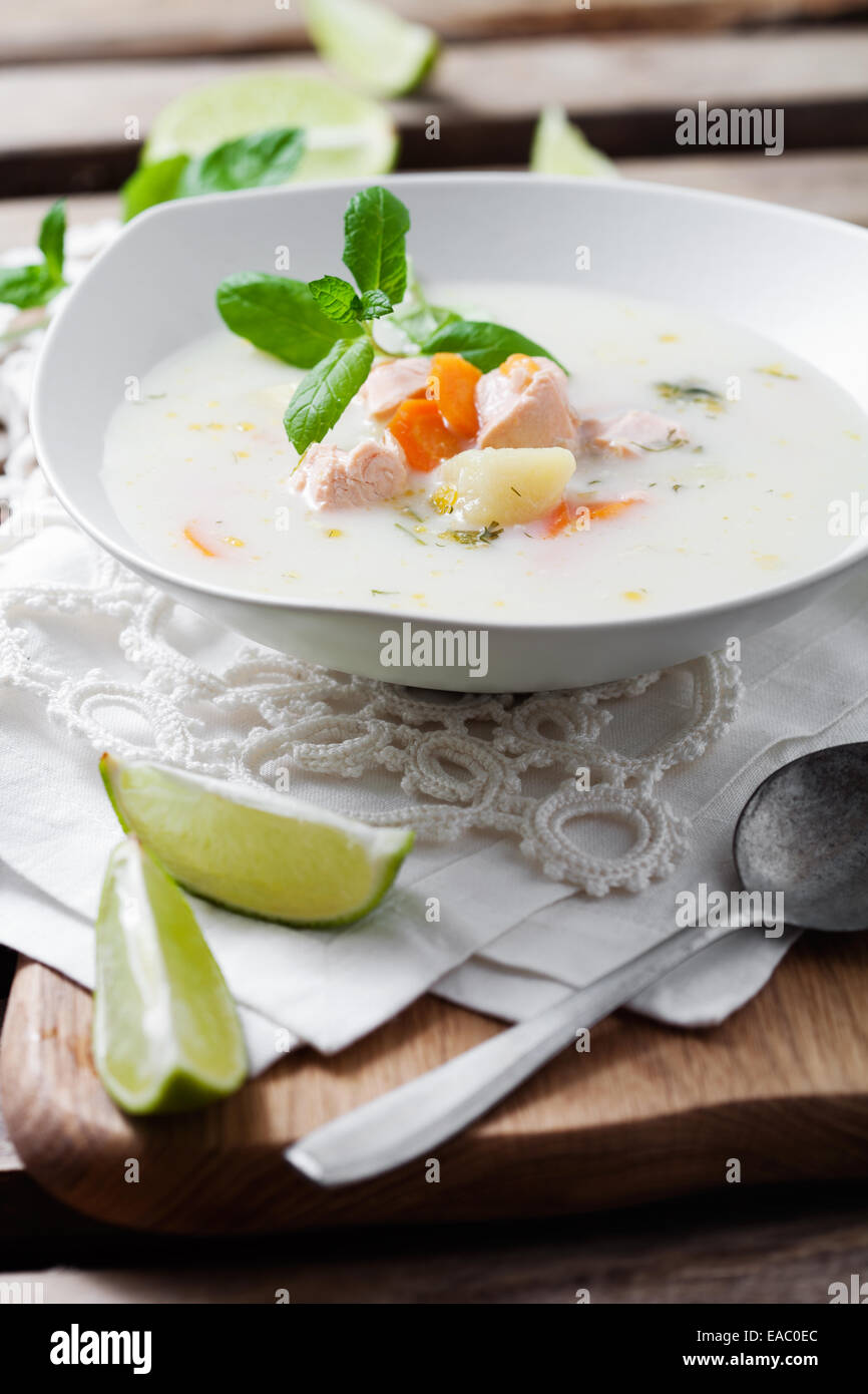 Creamy salmon soup in finnish style - Stock Image