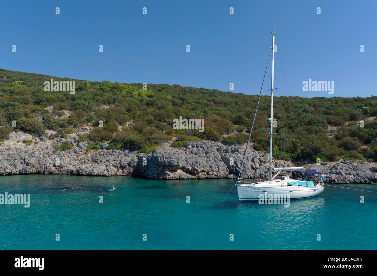 Yacht moored in the mediterranean - Stock Image