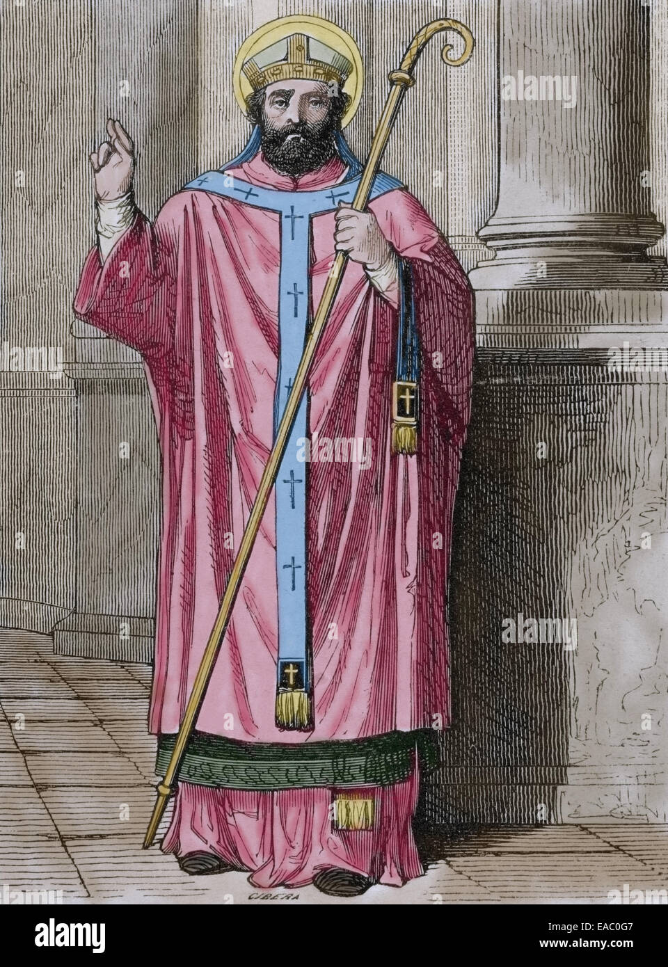 Maximus the Confessor (580-662). Christian monk, theologian, and scholar. Engraving by Cibera. Ano Cristiano, 1852. - Stock Image