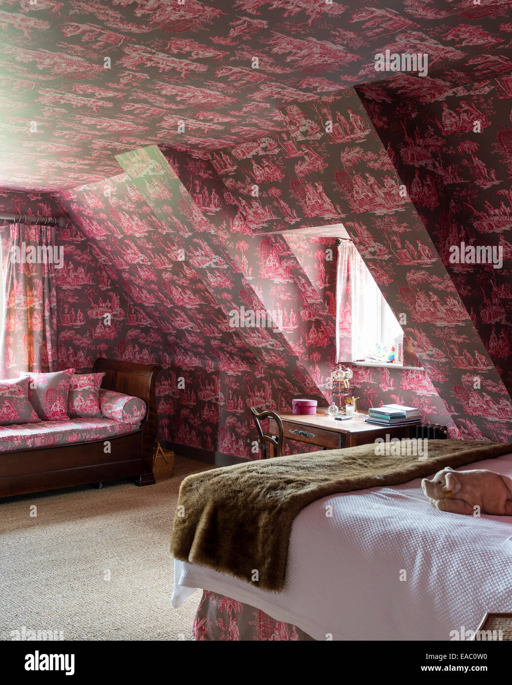 Attic Style Bedroom With Bold Toile De Jouy Wallpaper And Fabric