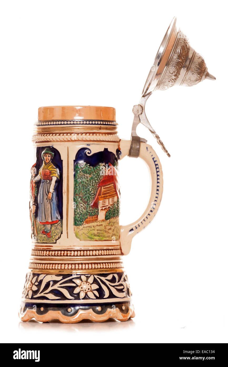 Musical german beer stein cutout - Stock Image