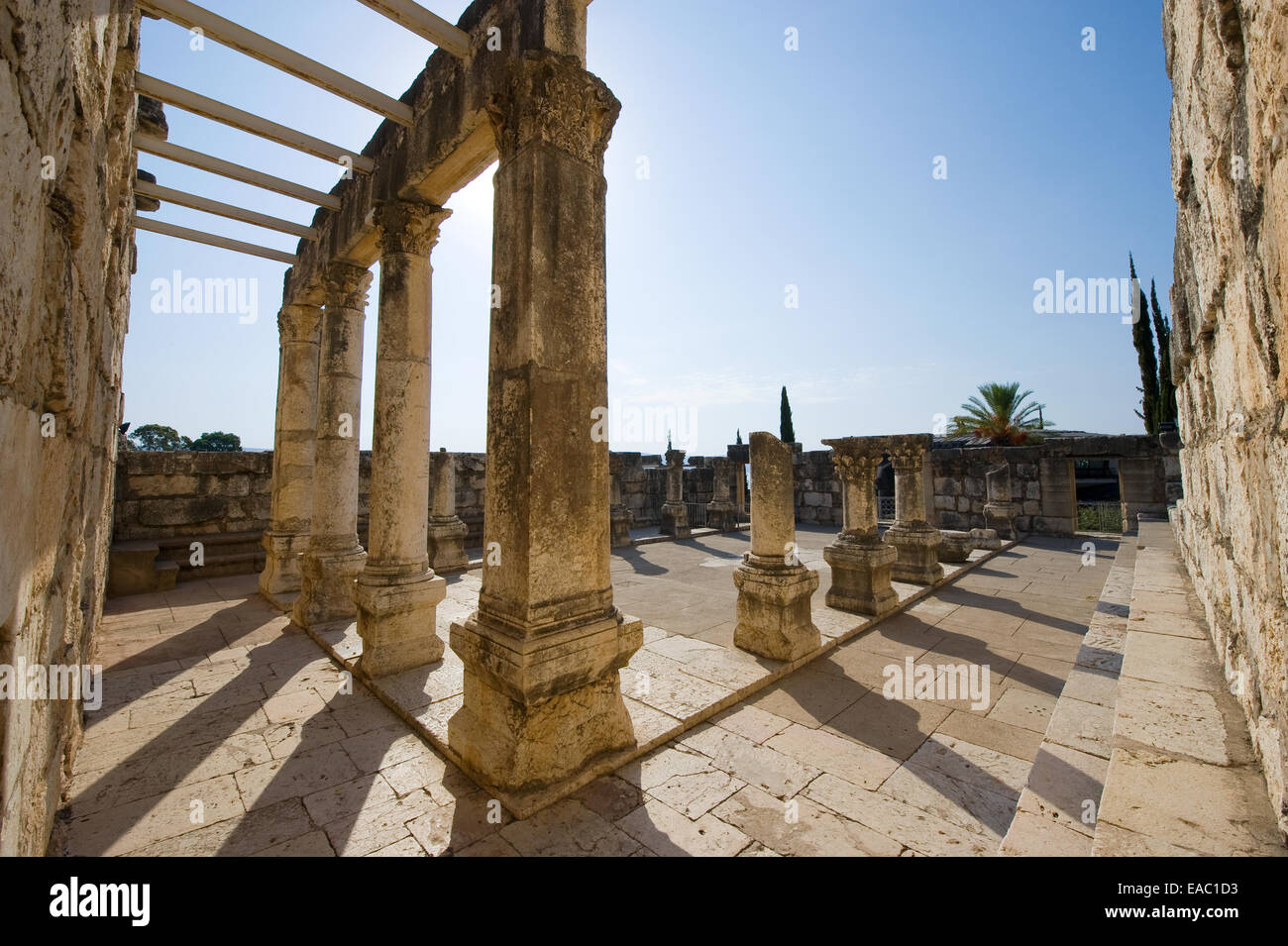 The ruins of the synagogue in the small town Capernaum on the coast of the lake of Galilee. Stock Photo