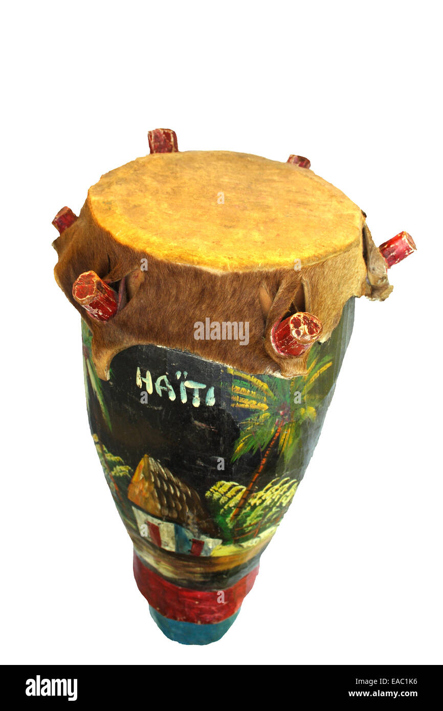 Primitive drum from the island of Haiti - Stock Image
