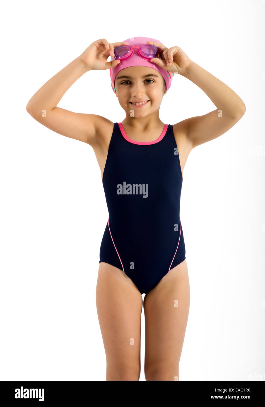 Pretty Young Girl in Swimming Fashion Outfit - Stock Image