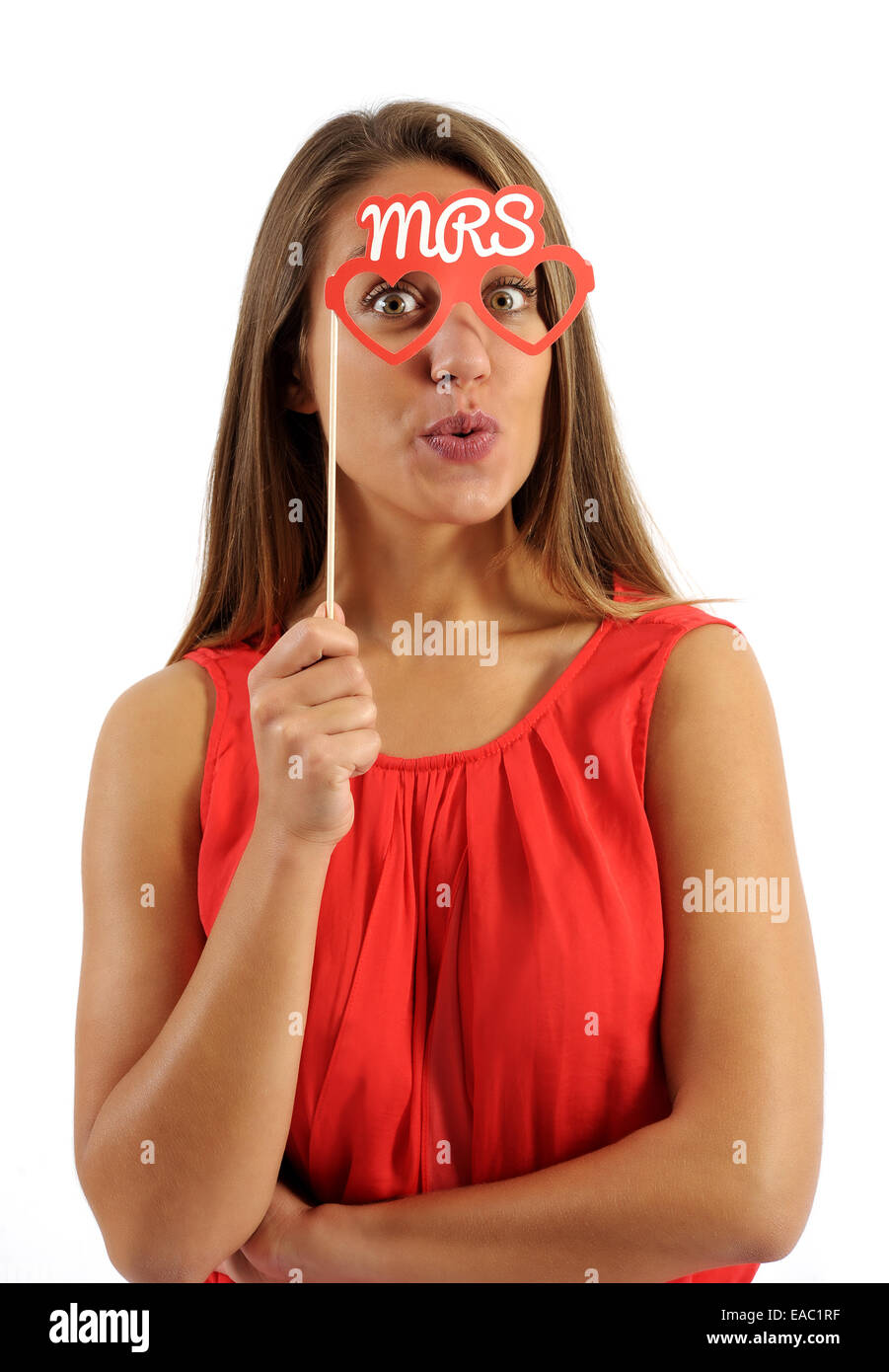 Pretty Woman holding Mrs Text Photo Booth Prop - Stock Image
