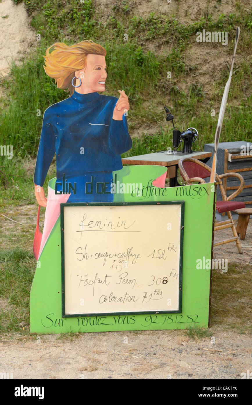 Vintage Hair Dresser Hair Dressers or Hairdressing Sign For Sale with Price List in French Francs at Antiques Market - Stock Image